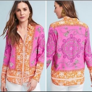 Maeve by Anthropologie Potala Pink Silk Blouse